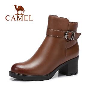 Camel/骆驼 女鞋秋冬款休闲气质通勤粗跟女靴防水台短靴
