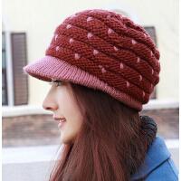 女士保暖毛线针织帽 新款工针织羊毛鸭舌帽 老少皆宜盆帽滑雪帽