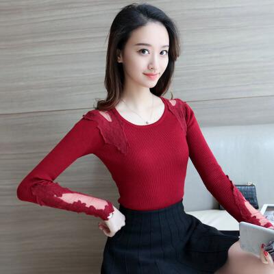苿莱2018春季新款套头韩版中长款圆领纯色修身长袖打底针织衫