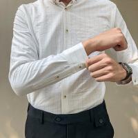 春季休闲黑白条纹衬衫男长袖修身韩版潮流时尚发型师春秋打底衬衣