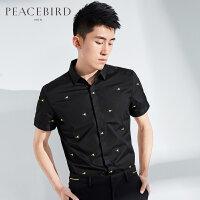 太平鸟男装 男士韩版修身波点印花夏装短袖衬衫B2CC62453
