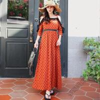 秋季海边度假连衣裙女波西米亚吊带裙露肩沙滩长裙 橙色