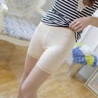 冰丝裤女夏季可外穿无痕打底短裤韩版蕾丝边三分保险裤女薄款 Q09(90-125斤)内穿