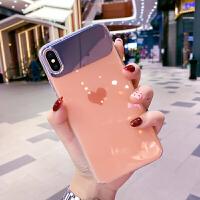 ins爱心苹果x手机壳7plus创意镜子iphone xs max个性简约xr全包防摔6s带挂绳女款 橙色 6/6s(