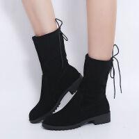 35-43 加大码女鞋秋季马丁靴英伦风绒面短靴粗跟中筒靴特大码