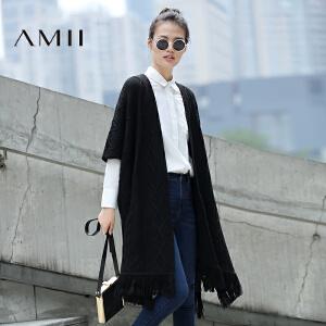 【品牌团 1件7折/2件5折】AMII[极简主义]2017年春季新款披肩流苏中长款针织开衫毛衣外套女装