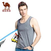 骆驼男装 夏季新款男士圆领修身上衣青年运动休闲汗背心男