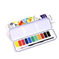 得韵DERWENT academy 12色固体水彩颜料套装 配画笔调色盘