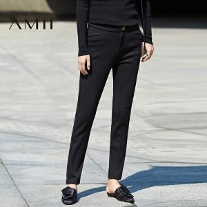 AMII[极简主义]冬女新款纯色修身瘦腿大码厚休闲长裤11673753