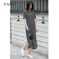 【AMII 超级品牌日】Amii[极简主义]2017夏装新品印花落肩短袖撞色条纹连衣裙11721786