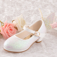 韩版女童鞋公主鞋亮晶晶小孩高跟鞋搭配儿童节日礼服裙银/粉/白色