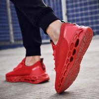 轻便男鞋运动鞋男2019夏季新款的鞋子男士跑鞋黑色鞋子透气网面跑步鞋男