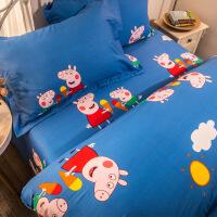 【人气】四件套全棉卡通女孩男孩儿童床单被套床上三件套床笠 纯 小猪佩琪蓝床单款 纯棉四件套