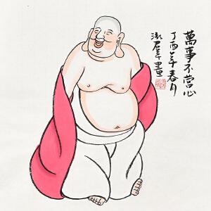 当代人物画家泓君小品佛像画gr00671