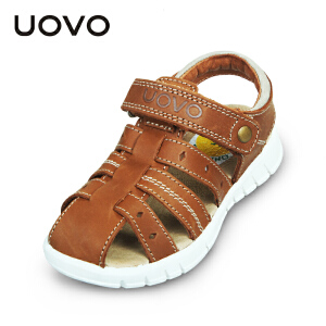 UOVO男童凉鞋2017夏季新款儿童沙滩鞋小童休闲真皮童鞋牛皮包头凉鞋 西西里