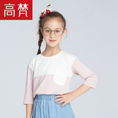 高梵2018新款夏装 儿童t恤基础简约圆领棉质中袖时尚休闲短体恤潮
