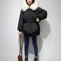2018新款派克服韩版超大毛领短款羽绒服女装小个子宽松大码外套冬 黑色+白色毛领 L