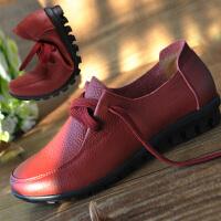 妈妈鞋单鞋女软底皮鞋中老年舒适平底鞋大码圆头平跟女工作鞋