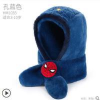 冬�和�帽子��巾一�w秋冬保暖迪士尼男童小孩�o耳帽蜘蛛�b����帽子