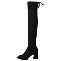 过膝长靴女高跟2018新款秋冬弹力尖头性感小个子粗跟高筒瘦瘦靴子