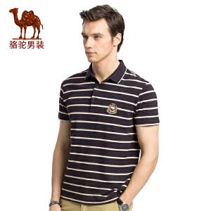 骆驼男装 夏季新款男青年短袖翻领条纹POLO衫休闲商务T恤衫