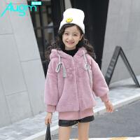 奥戈曼 童装女童冬装加绒加厚外套儿童小学生韩版大衣女孩时尚上衣衣服潮