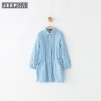 Jeep/吉普童装 女童秋新纯棉外套衬衫中大儿童时尚潮休闲衬衣上衣