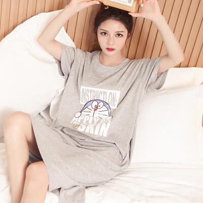 甜梦莱长款睡裙女夏季可爱叮当猫睡衣纯棉短袖薄款韩版学生春秋天家居服 TFN#1905叮当猫--灰色