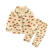 男童长袖纯棉睡衣套装春秋款1-2-3-4-5岁儿童6宝宝春季休闲居家服 浅黄色 汽车图案