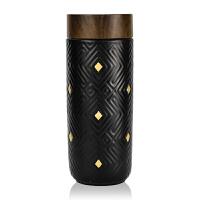 乾唐轩活瓷杯鎏金奇迹随身杯木纹盖创新意陶瓷杯礼物带盖水杯子