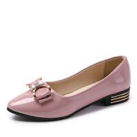 大东同款同款单鞋女春季韩版低跟百搭尖头蝴蝶结浅口工作休闲坡纯色小皮鞋