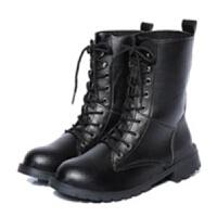 2019欧美中筒靴马丁靴女短靴平底单靴黑色机车靴女军靴骑士靴大码 黑色 35