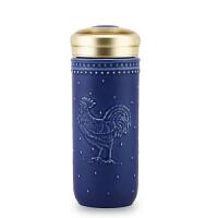 乾唐轩活瓷杯守护随身杯双层隔热陶瓷水杯子茶杯商务鸡年礼品杯