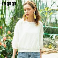 【秒杀价75】Lagogo/拉谷谷2019夏季时尚新款刺绣白色长袖上衣女IASS415A12