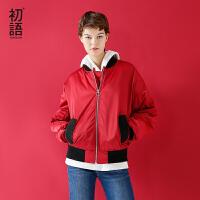 初语冬季新品 字母印花棉服复古宽松小众短款棉衣外套夹克