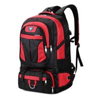 背包男多功能双肩包旅行包大容量行李包户外防水运动包徒步登山包 红色 60升