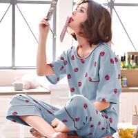 孕妇睡衣夏季月子服纯棉产后外出哺乳期产妇喂奶衣家居服薄款套装 蓝色短袖哺乳