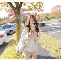 卡茗语2017秋冬新款黄色高领毛衣女春秋宽松针织衫韩版套头学生外搭上衣
