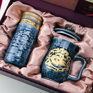 乾唐轩活瓷杯正品势在必得2入鎏金礼盒套装陶瓷办公茶水杯子热卖