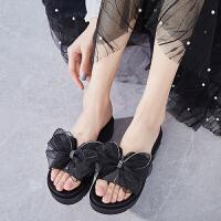 夏季凉拖鞋女外穿松糕厚底增高一字拖蝴蝶结耐穿坡跟韩版沙滩拖鞋夏季百搭鞋