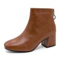 2019秋冬季新款英伦风方头靴粗跟高跟鞋女士后拉链保暖短靴马丁靴