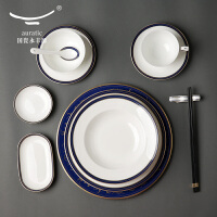 国瓷永丰源 吉祥如意西餐餐具套装碗盘碟勺陶瓷餐具套装高档家用