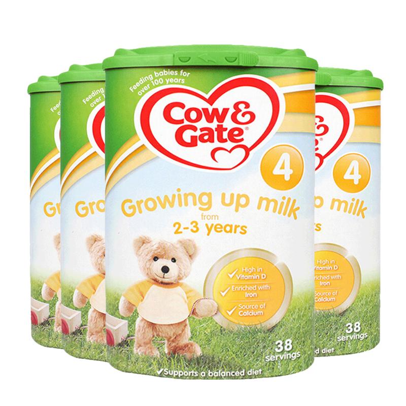 【4段】英国直邮/保税仓发货 英国Cow&Gate牛栏 婴幼儿奶粉 四段(2-3岁) 800g*4罐 海外购 新老包装随 机发货