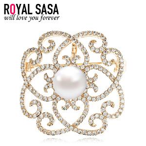 皇家莎莎胸针胸花女士别针韩国版奢华大气仿水晶贝珠花朵项链两用