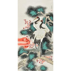 中国书画研究会会员 唐晓静138 X 68CM花鸟画 gh01750