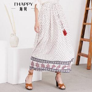 海贝夏季新款女装 抽绳收腰文艺复古民族风碎花中长款半身裙长裙
