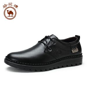骆驼牌 新品休闲皮鞋 低帮系带日常休闲男士皮鞋厚底青年鞋子