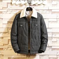 冬季牛仔男棉衣韩版修身潮流帅气学生加厚加绒外套保暖棉袄潮 (M)黑色 M