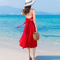 沙滩裙女夏泰国海边度假长裙超仙小个子性感红色露背吊带连衣裙子 XS 70-90