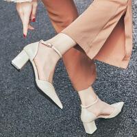 漆皮女凉鞋2019新款时尚网红尖头高跟鞋女粗跟一字扣仙女包头凉鞋夏季百搭鞋